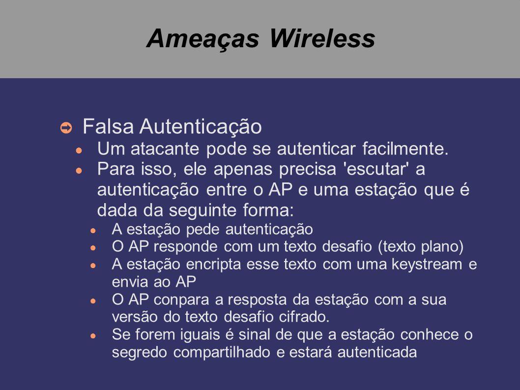 Ameaças Wireless Falsa Autenticação Um atacante pode se autenticar facilmente. Para isso, ele apenas precisa 'escutar' a autenticação entre o AP e uma