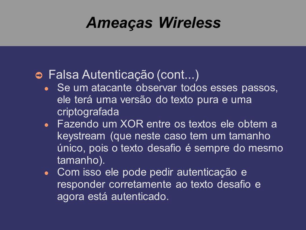 Ameaças Wireless Falsa Autenticação (cont...) Se um atacante observar todos esses passos, ele terá uma versão do texto pura e uma criptografada Fazend