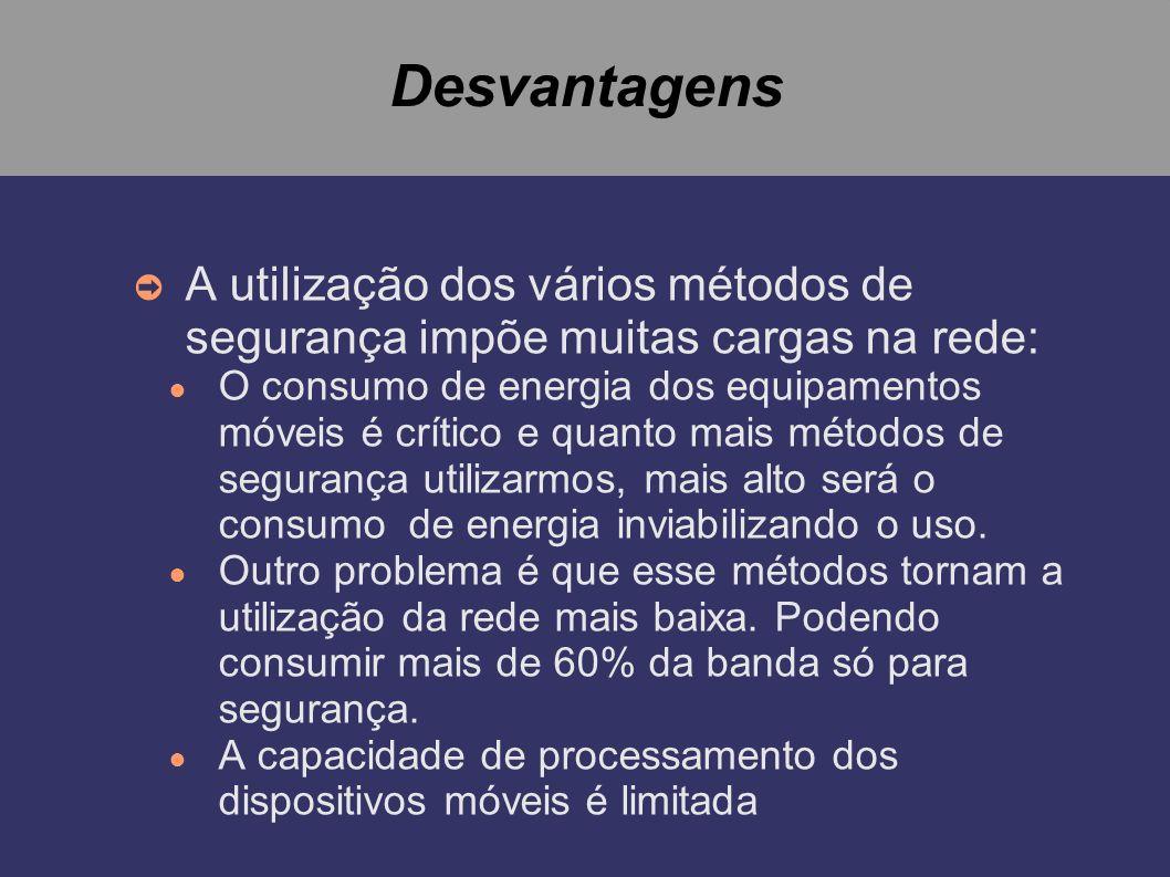 Desvantagens A utilização dos vários métodos de segurança impõe muitas cargas na rede: O consumo de energia dos equipamentos móveis é crítico e quanto
