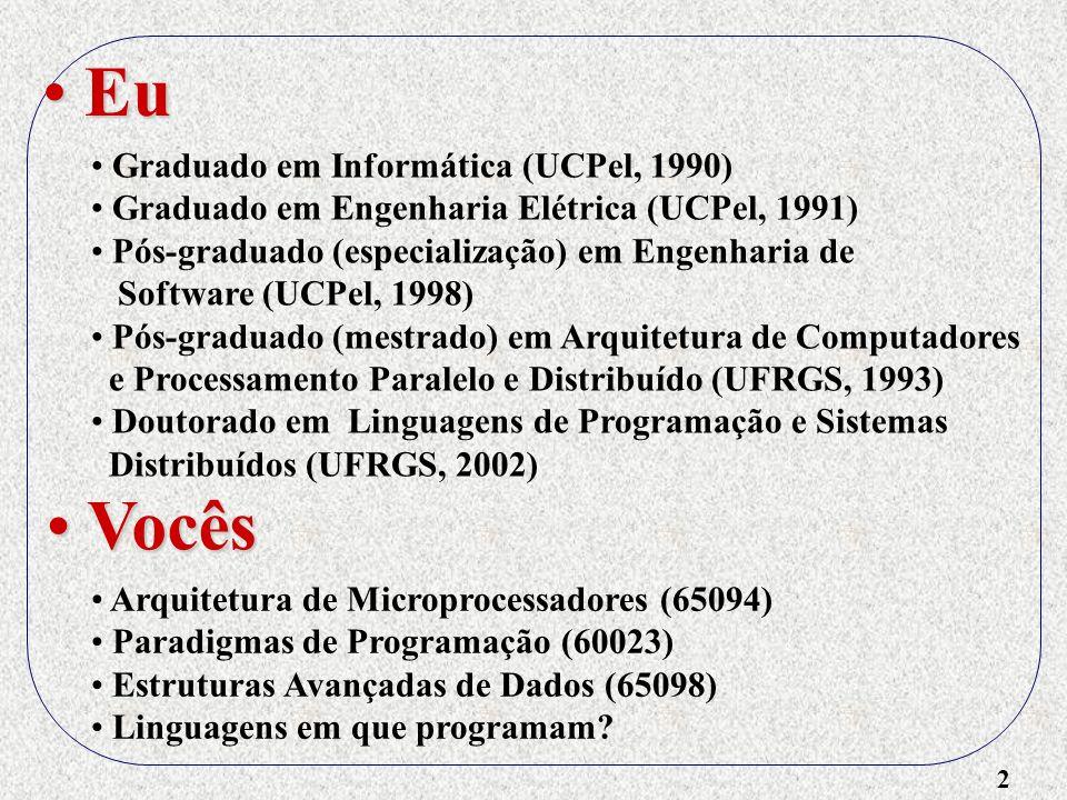 2 Eu Eu Graduado em Informática (UCPel, 1990) Graduado em Engenharia Elétrica (UCPel, 1991) Pós-graduado (especialização) em Engenharia de Software (U