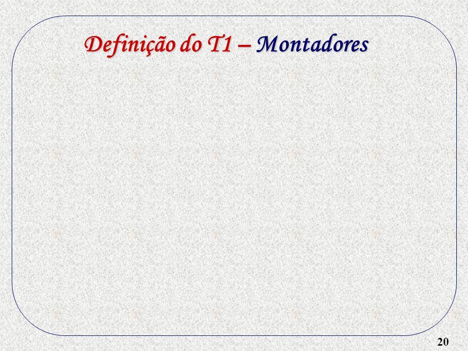 20 Definição do T1 – Montadores