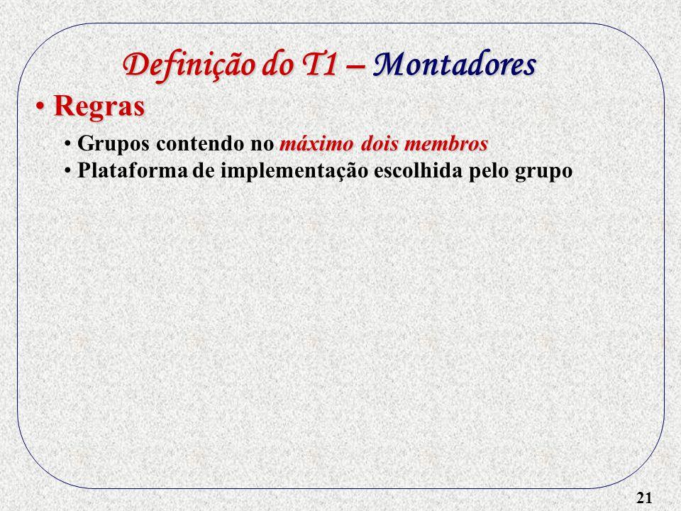 21 Definição do T1 – Montadores máximo dois membros Grupos contendo no máximo dois membros Plataforma de implementação escolhida pelo grupo Regras Reg