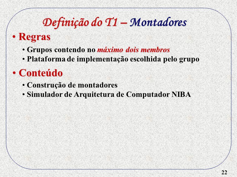 22 Definição do T1 – Montadores máximo dois membros Grupos contendo no máximo dois membros Plataforma de implementação escolhida pelo grupo Regras Reg