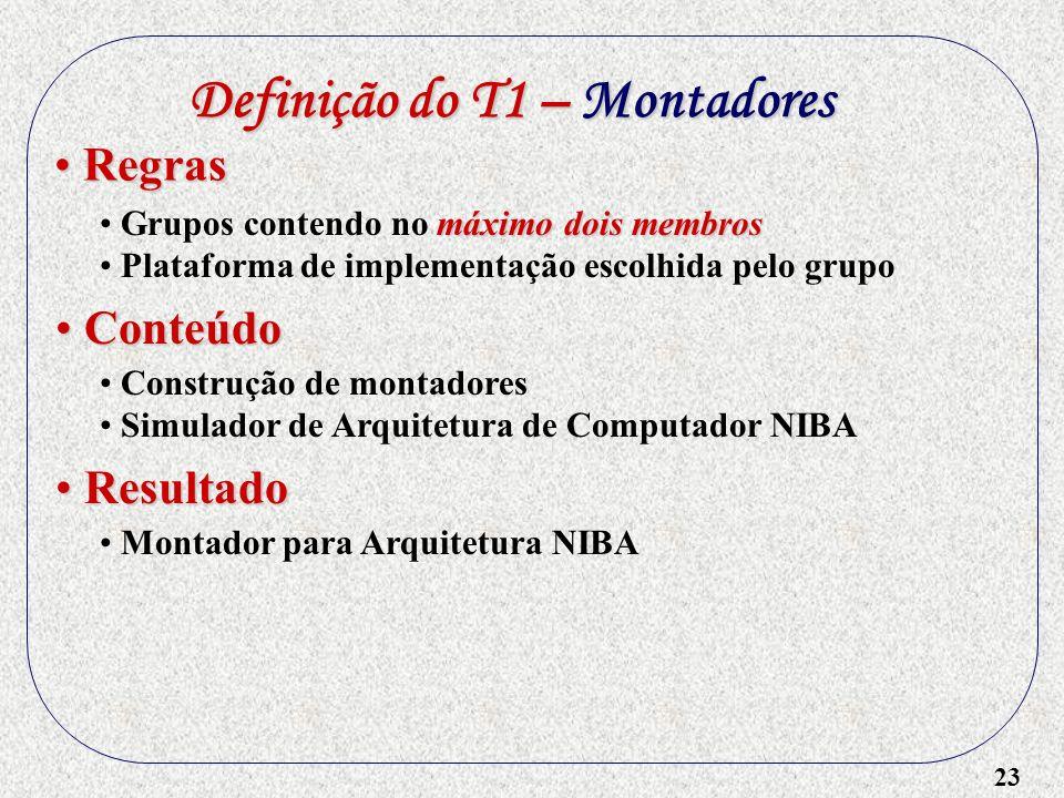 23 Definição do T1 – Montadores máximo dois membros Grupos contendo no máximo dois membros Plataforma de implementação escolhida pelo grupo Regras Reg