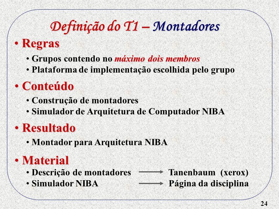 24 Definição do T1 – Montadores máximo dois membros Grupos contendo no máximo dois membros Plataforma de implementação escolhida pelo grupo Regras Reg