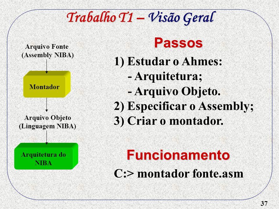 37 1) Estudar o Ahmes: - Arquitetura; - Arquivo Objeto. 2) Especificar o Assembly; 3) Criar o montador. Passos C:> montador fonte.asm Funcionamento Tr