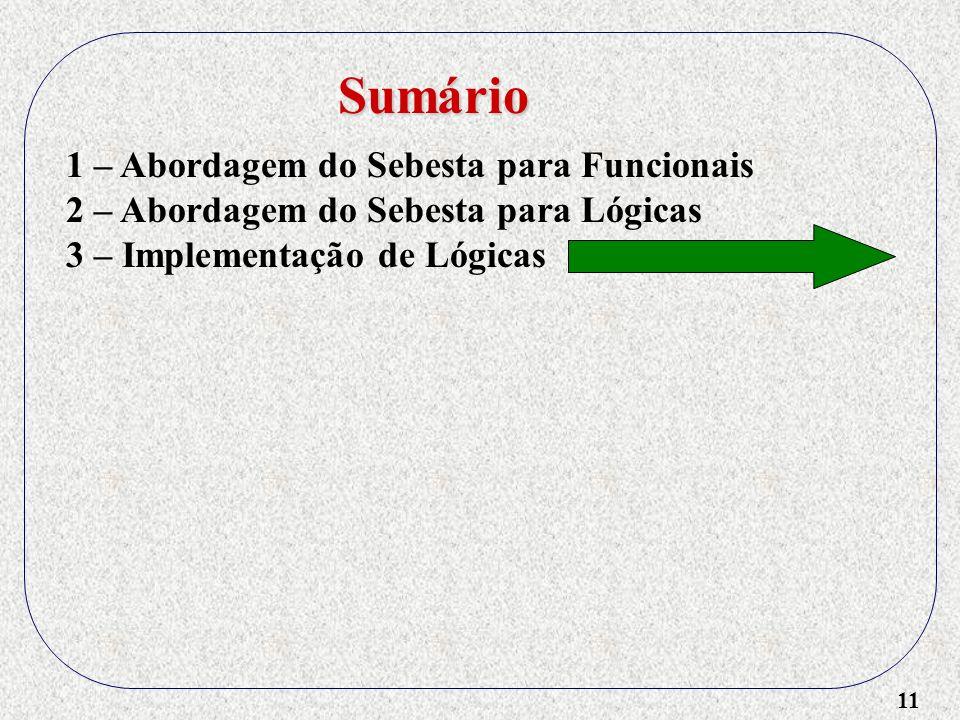 11 1 – Abordagem do Sebesta para Funcionais 2 – Abordagem do Sebesta para Lógicas 3 – Implementação de Lógicas Sumário