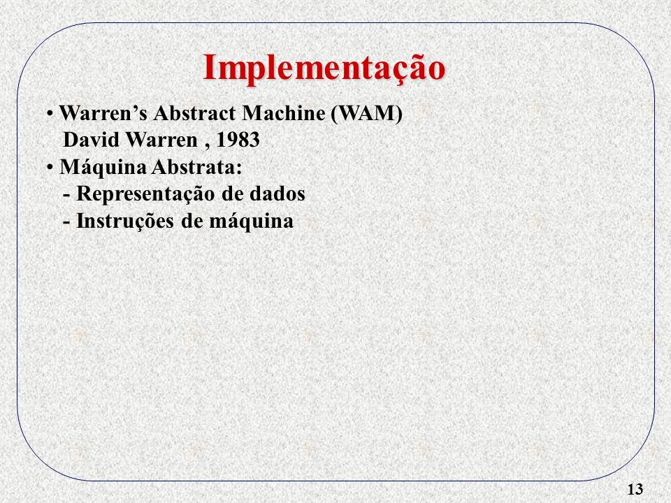 13 Implementação Warrens Abstract Machine (WAM) David Warren, 1983 Máquina Abstrata: - Representação de dados - Instruções de máquina