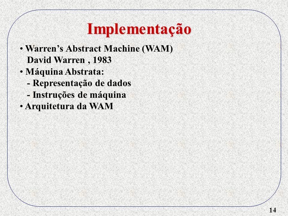 14 Implementação Warrens Abstract Machine (WAM) David Warren, 1983 Máquina Abstrata: - Representação de dados - Instruções de máquina Arquitetura da WAM