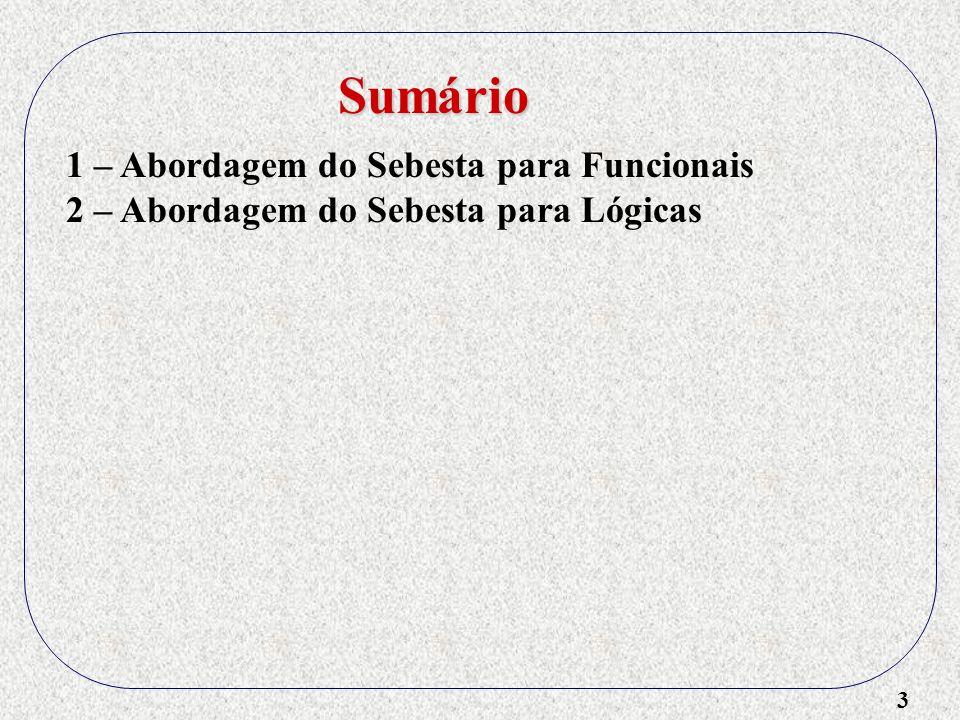 4 1 – Abordagem do Sebesta para Funcionais 2 – Abordagem do Sebesta para Lógicas 3 – Implementação de Lógicas Sumário