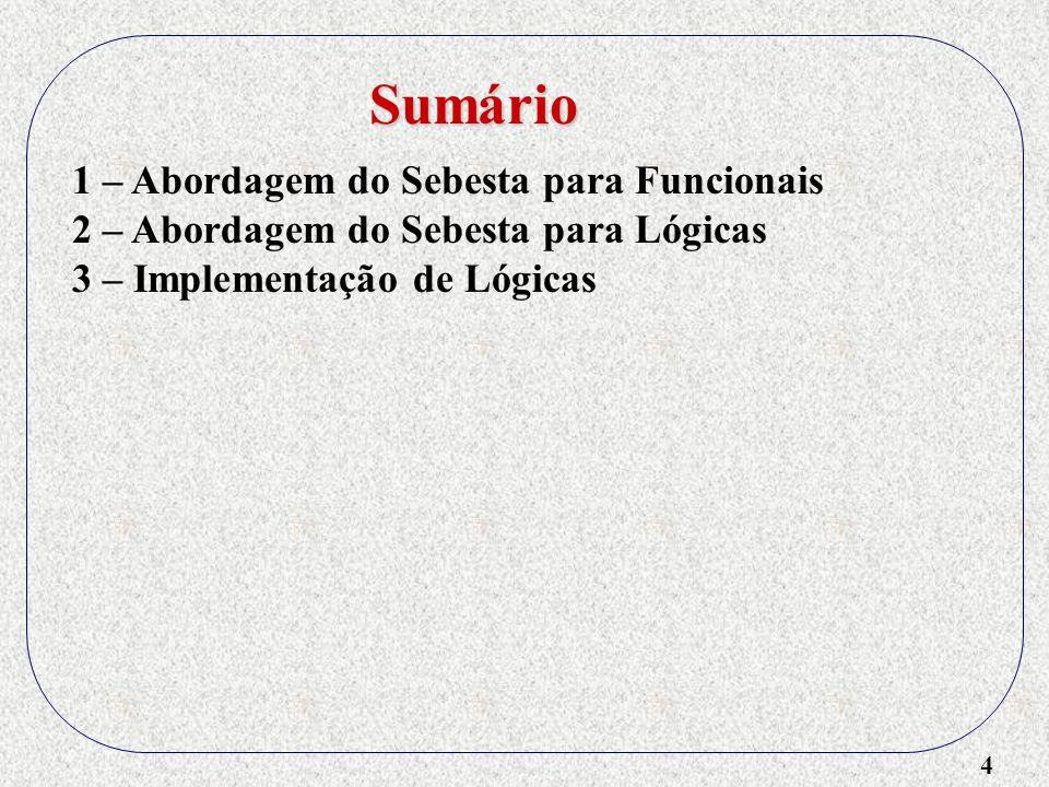 5 1 – Abordagem do Sebesta para Funcionais 2 – Abordagem do Sebesta para Lógicas 3 – Implementação de Lógicas 4 – Implementação de Funcionais Sumário