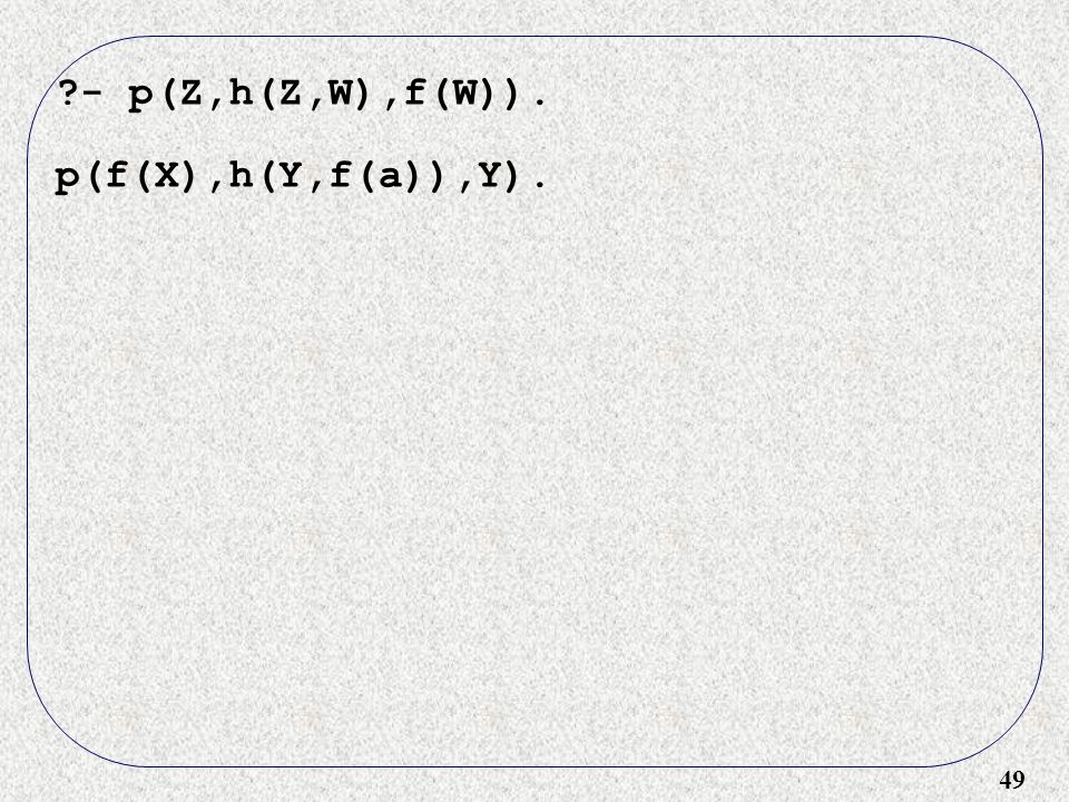 49 ?- p(Z,h(Z,W),f(W)). p(f(X),h(Y,f(a)),Y).