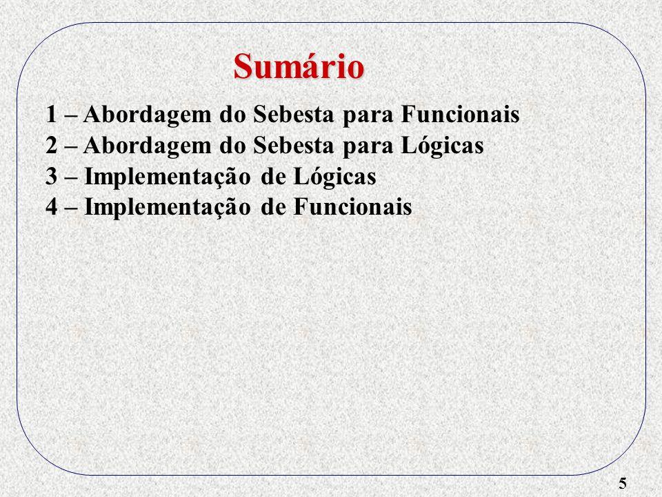 6 1 – Abordagem do Sebesta para Funcionais 2 – Abordagem do Sebesta para Lógicas 3 – Implementação de Lógicas 4 – Implementação de Funcionais 5 – Proposta do Holo Sumário