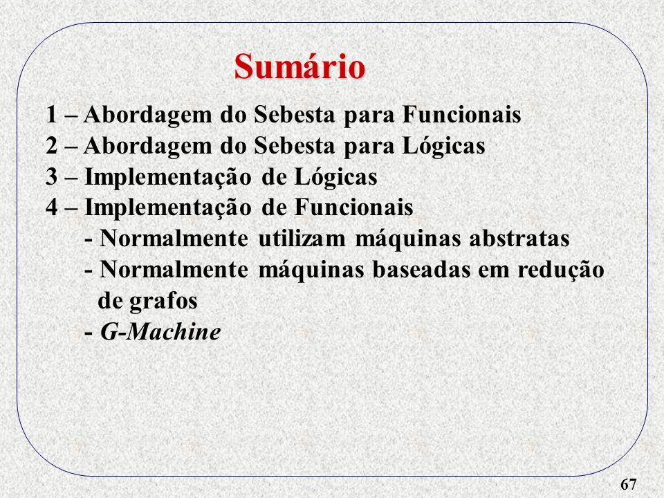 67 1 – Abordagem do Sebesta para Funcionais 2 – Abordagem do Sebesta para Lógicas 3 – Implementação de Lógicas 4 – Implementação de Funcionais - Norma