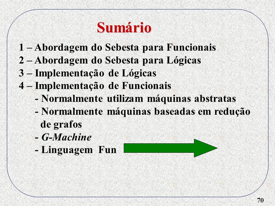 70 1 – Abordagem do Sebesta para Funcionais 2 – Abordagem do Sebesta para Lógicas 3 – Implementação de Lógicas 4 – Implementação de Funcionais - Norma