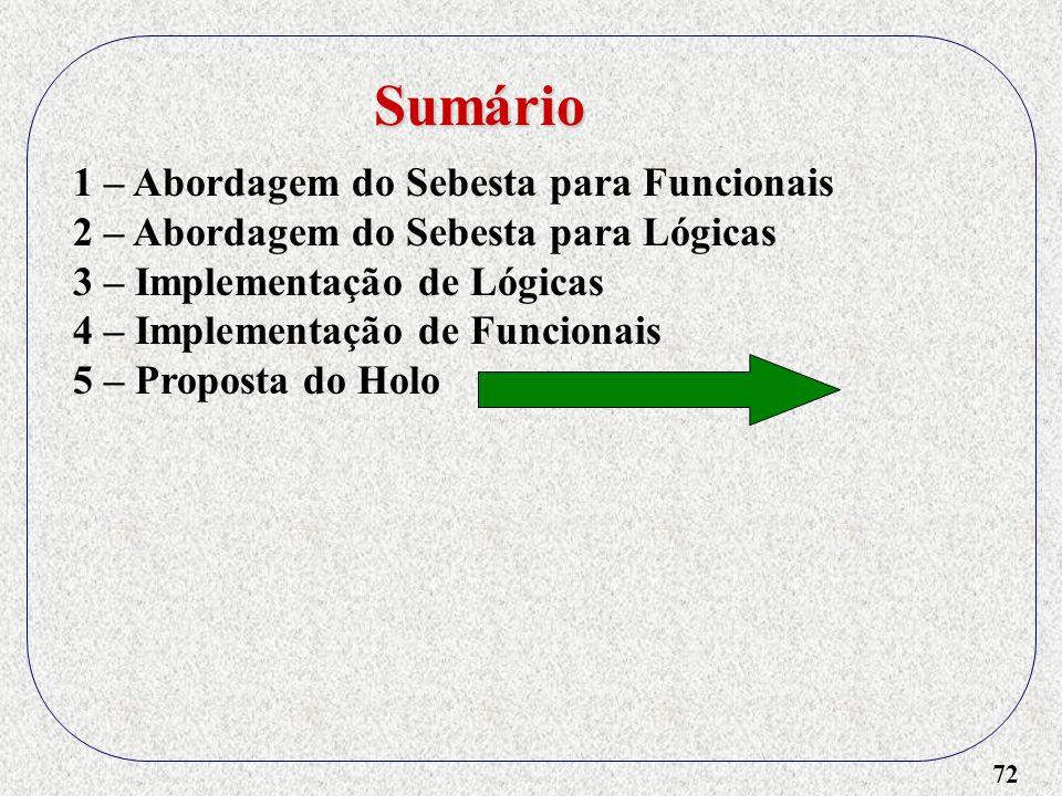 72 1 – Abordagem do Sebesta para Funcionais 2 – Abordagem do Sebesta para Lógicas 3 – Implementação de Lógicas 4 – Implementação de Funcionais 5 – Proposta do Holo Sumário