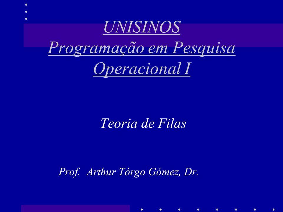 Teoria de Filas Prof. Arthur Tórgo Gómez, Dr. UNISINOS Programação em Pesquisa Operacional I
