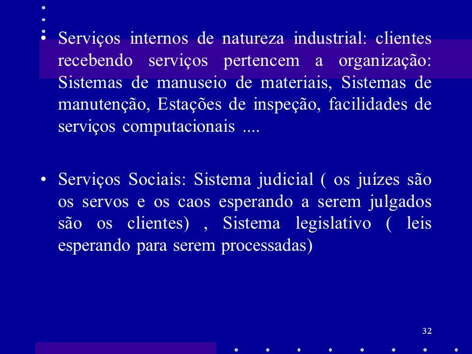 32 Serviços internos de natureza industrial: clientes recebendo serviços pertencem a organização: Sistemas de manuseio de materiais, Sistemas de manut