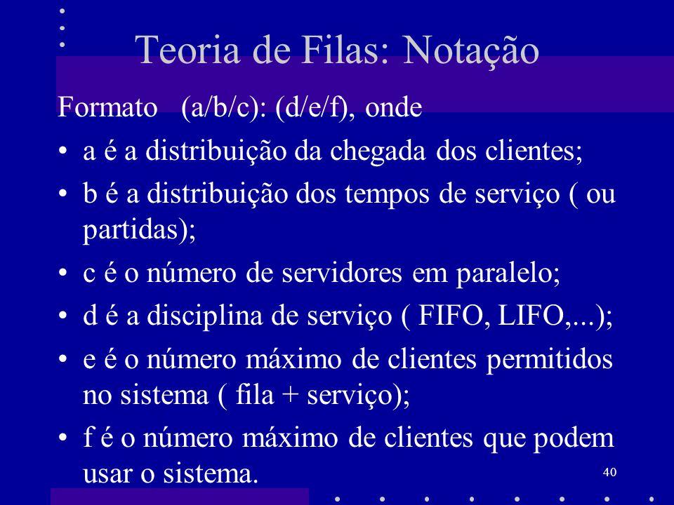 40 Teoria de Filas: Notação Formato (a/b/c): (d/e/f), onde a é a distribuição da chegada dos clientes; b é a distribuição dos tempos de serviço ( ou p