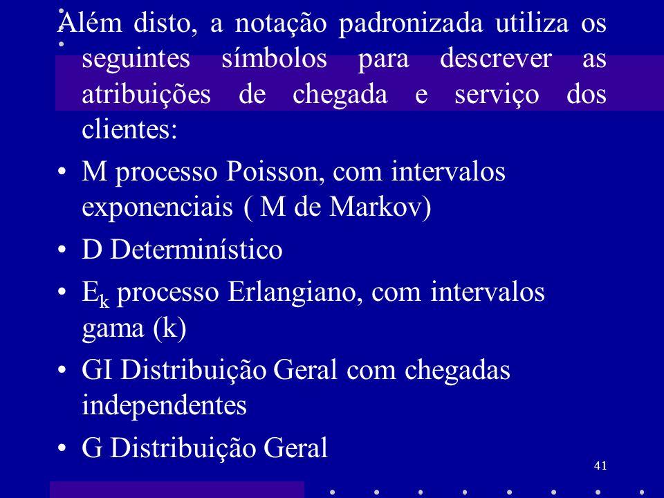 41 Além disto, a notação padronizada utiliza os seguintes símbolos para descrever as atribuições de chegada e serviço dos clientes: M processo Poisson