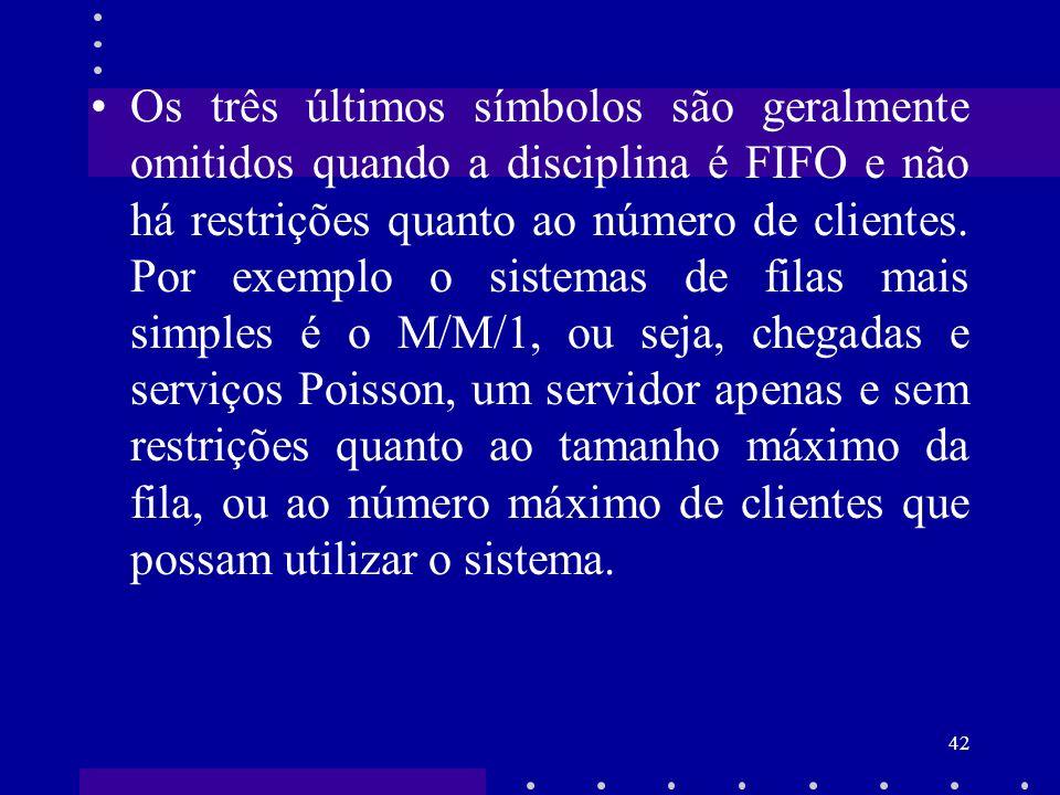 42 Os três últimos símbolos são geralmente omitidos quando a disciplina é FIFO e não há restrições quanto ao número de clientes. Por exemplo o sistema