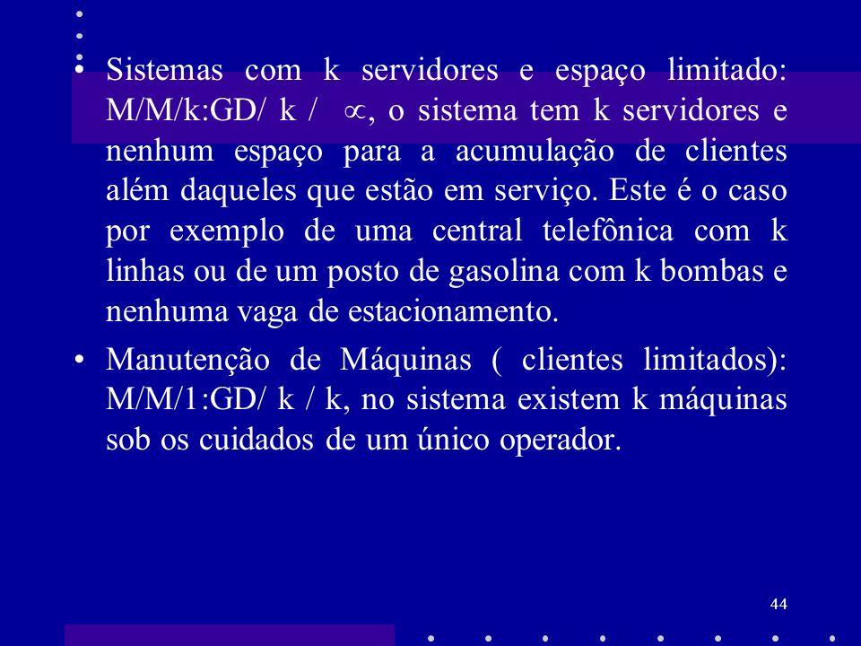 44 Sistemas com k servidores e espaço limitado: M/M/k:GD/ k /, o sistema tem k servidores e nenhum espaço para a acumulação de clientes além daqueles