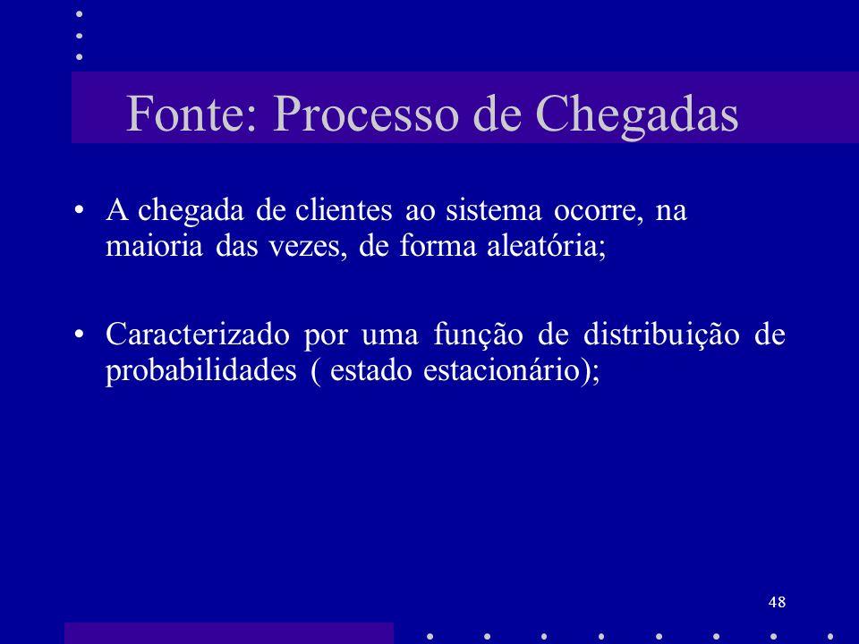 48 Fonte: Processo de Chegadas A chegada de clientes ao sistema ocorre, na maioria das vezes, de forma aleatória; Caracterizado por uma função de dist