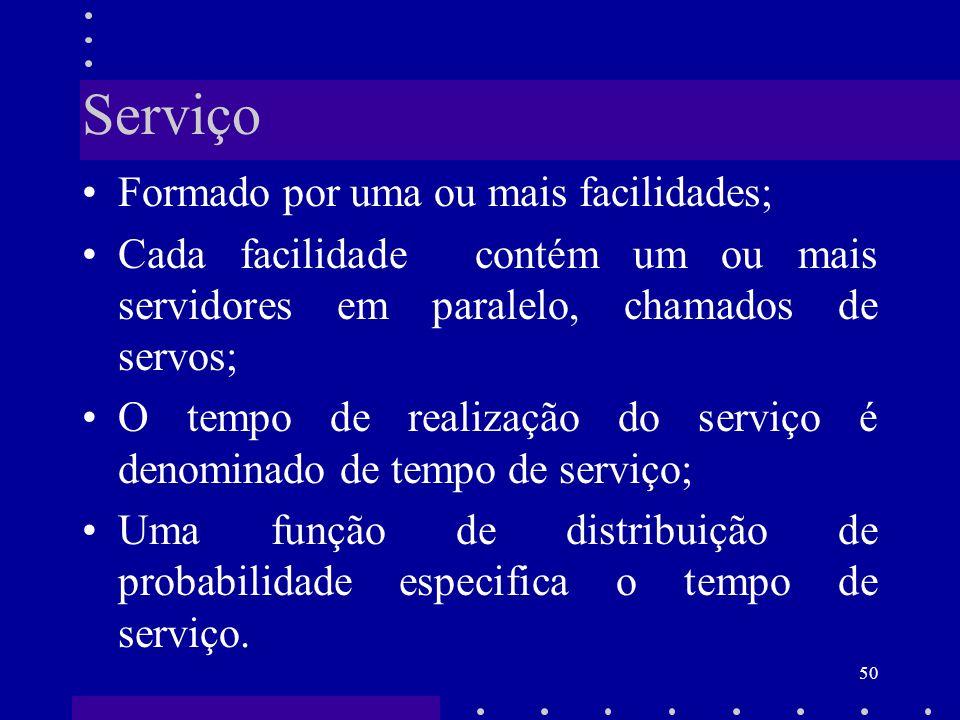 50 Serviço Formado por uma ou mais facilidades; Cada facilidade contém um ou mais servidores em paralelo, chamados de servos; O tempo de realização do