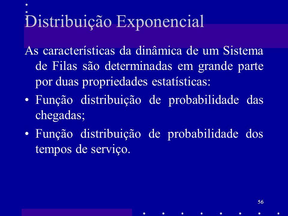56 Distribuição Exponencial As características da dinâmica de um Sistema de Filas são determinadas em grande parte por duas propriedades estatísticas: