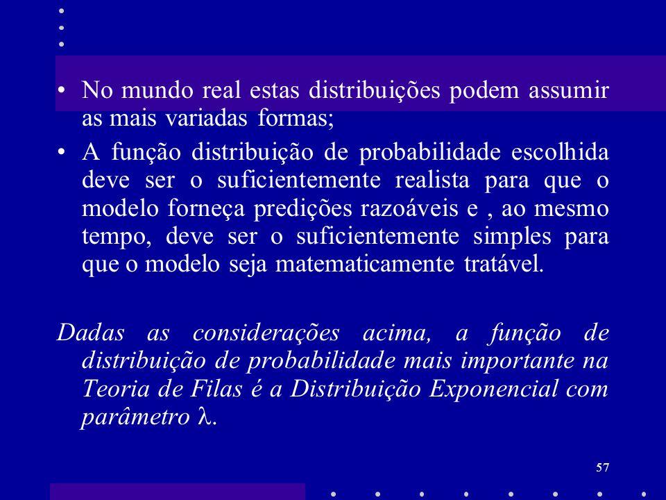 57 No mundo real estas distribuições podem assumir as mais variadas formas; A função distribuição de probabilidade escolhida deve ser o suficientement