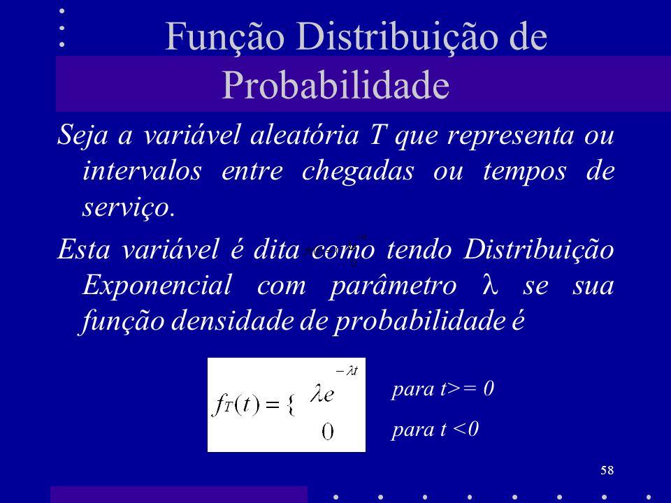 58 Função Distribuição de Probabilidade Seja a variável aleatória T que representa ou intervalos entre chegadas ou tempos de serviço. Esta variável é