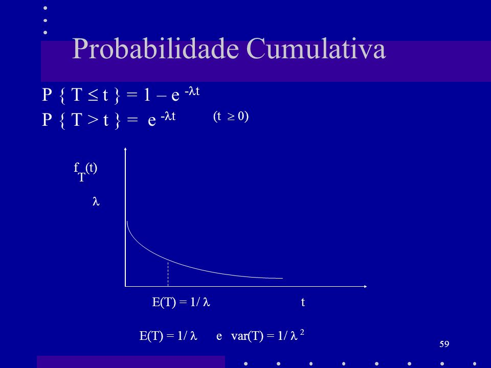 59 Probabilidade Cumulativa P { T t } = 1 – e - t P { T > t } = e - t (t 0) f T (t) E(T) = 1/ t E(T) = 1/ e var(T) = 1/ 2