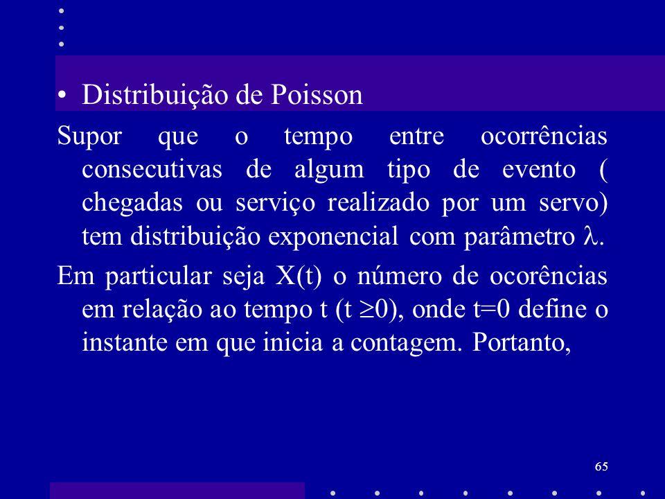 65 Distribuição de Poisson Supor que o tempo entre ocorrências consecutivas de algum tipo de evento ( chegadas ou serviço realizado por um servo) tem