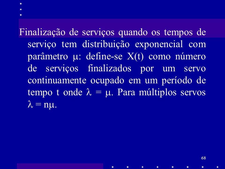 68 Finalização de serviços quando os tempos de serviço tem distribuição exponencial com parâmetro : define-se X(t) como número de serviços finalizados