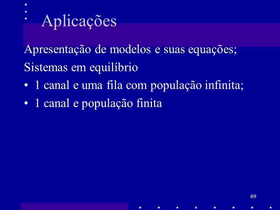 69 Aplicações Apresentação de modelos e suas equações; Sistemas em equilíbrio 1 canal e uma fila com população infinita; 1 canal e população finita