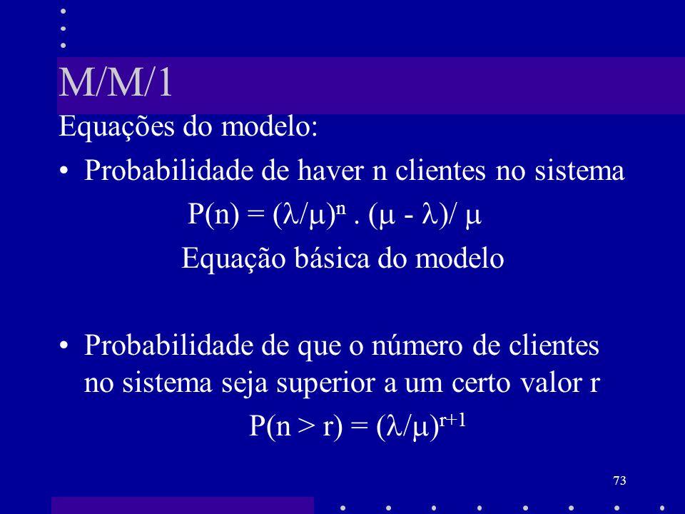 73 M/M/1 Equações do modelo: Probabilidade de haver n clientes no sistema P(n) = ( / ) n. ( - )/ Equação básica do modelo Probabilidade de que o númer