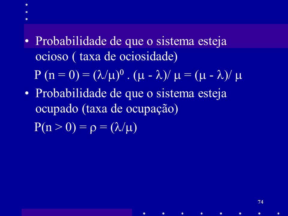 74 Probabilidade de que o sistema esteja ocioso ( taxa de ociosidade) P (n = 0) = ( / ) 0. ( - )/ = ( - )/ Probabilidade de que o sistema esteja ocupa