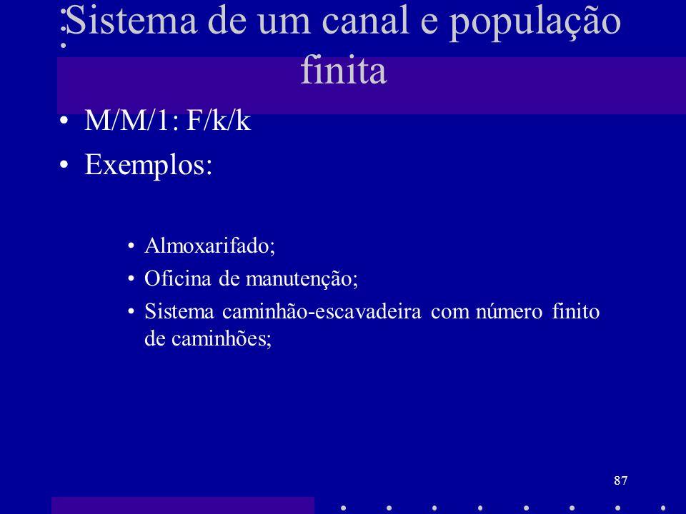 87 M/M/1: F/k/k Exemplos: Almoxarifado; Oficina de manutenção; Sistema caminhão-escavadeira com número finito de caminhões; Sistema de um canal e popu