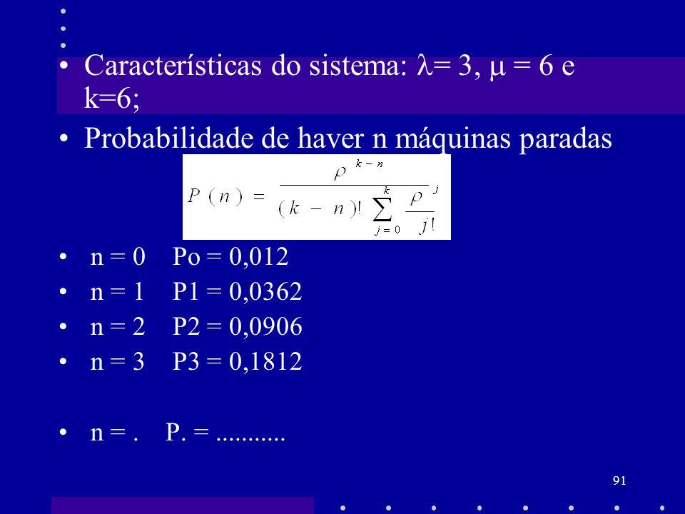 91 Características do sistema: = 3, = 6 e k=6; Probabilidade de haver n máquinas paradas n = 0 Po = 0,012 n = 1 P1 = 0,0362 n = 2 P2 = 0,0906 n = 3 P3