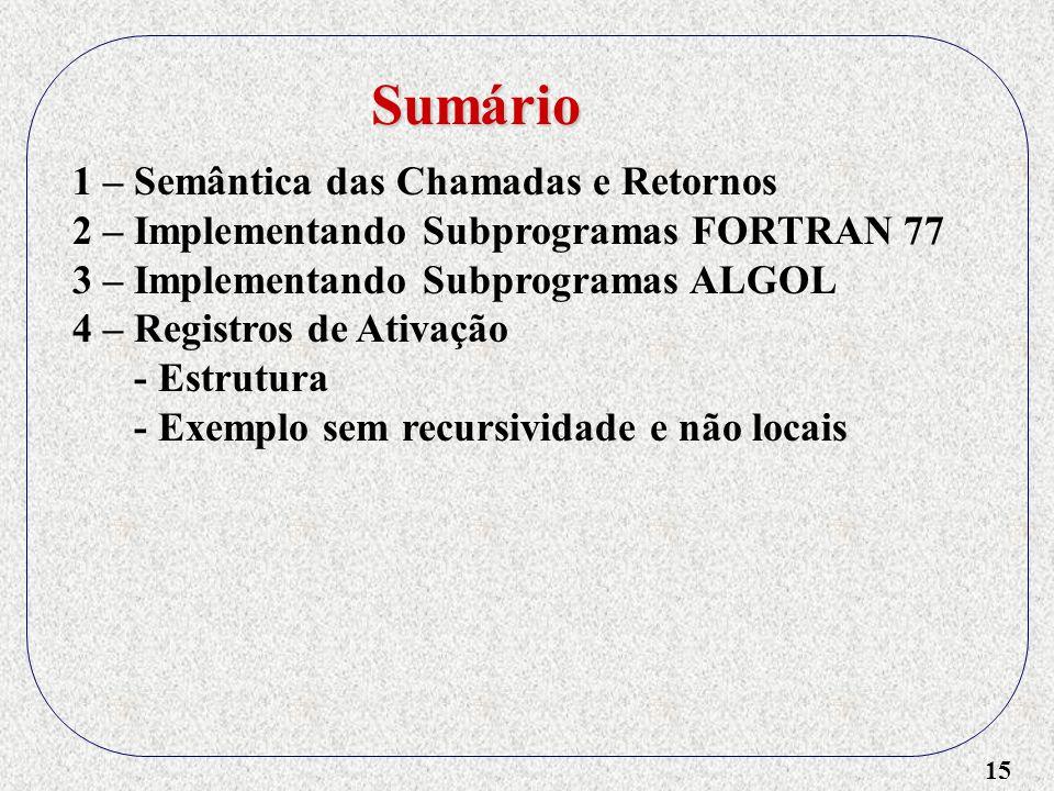 15 1 – Semântica das Chamadas e Retornos 2 – Implementando Subprogramas FORTRAN 77 3 – Implementando Subprogramas ALGOL 4 – Registros de Ativação - Estrutura - Exemplo sem recursividade e não locais Sumário