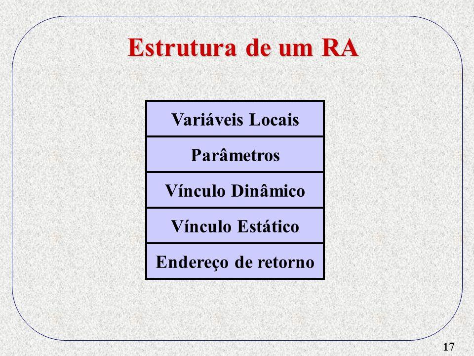 17 Variáveis Locais Parâmetros Vínculo Dinâmico Vínculo Estático Endereço de retorno Estrutura de um RA