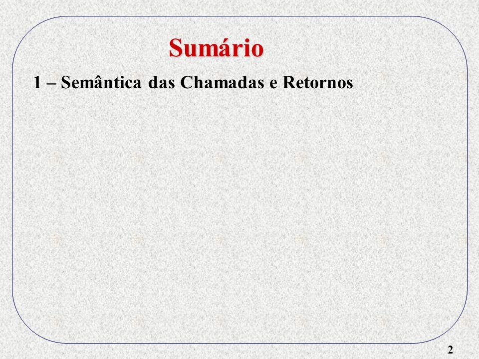 13 1 – Semântica das Chamadas e Retornos 2 – Implementando Subprogramas FORTRAN 77 3 – Implementando Subprogramas ALGOL - Tamanho dos RAs: fixo ou variável .