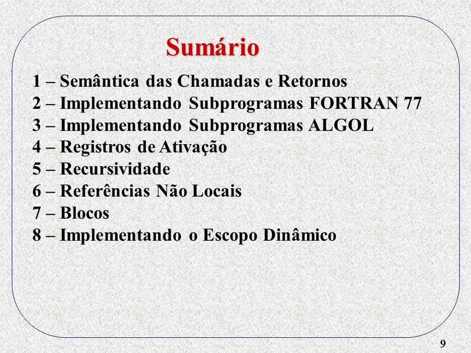 20 1 – Semântica das Chamadas e Retornos 2 – Implementando Subprogramas FORTRAN 77 3 – Implementando Subprogramas ALGOL 4 – Registros de Ativação - Estrutura - Exemplo sem recursividade e não locais Sumário