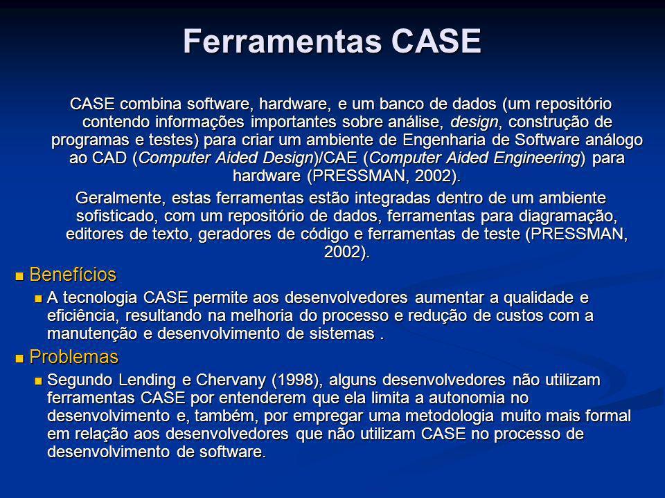 Ferramentas CASE CASE combina software, hardware, e um banco de dados (um repositório contendo informações importantes sobre análise, design, construç