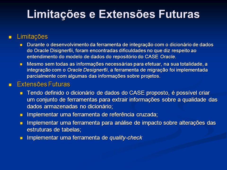 Limitações e Extensões Futuras Limitações Limitações Durante o desenvolvimento da ferramenta de integração com o dicionário de dados do Oracle Disigne