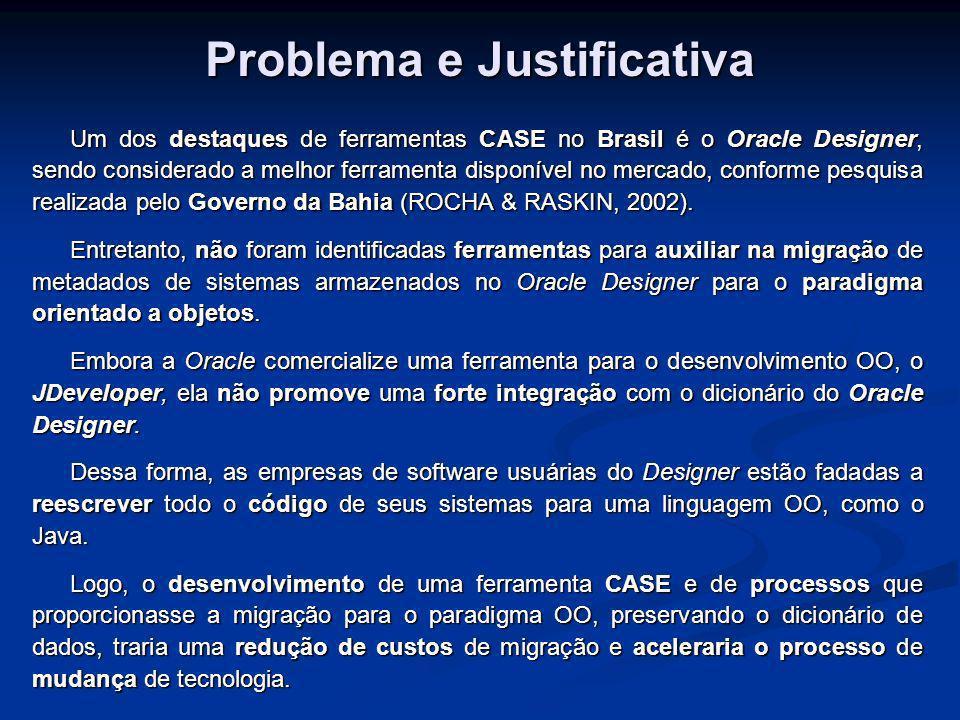Objetivos Objetivo Principal: Propor uma ferramenta CASE para geração de código em Java, usando técnicas convencionais de Engenharia de Software, a qual possibilite a importação de informações do dicionário de dados do Oracle Designer.