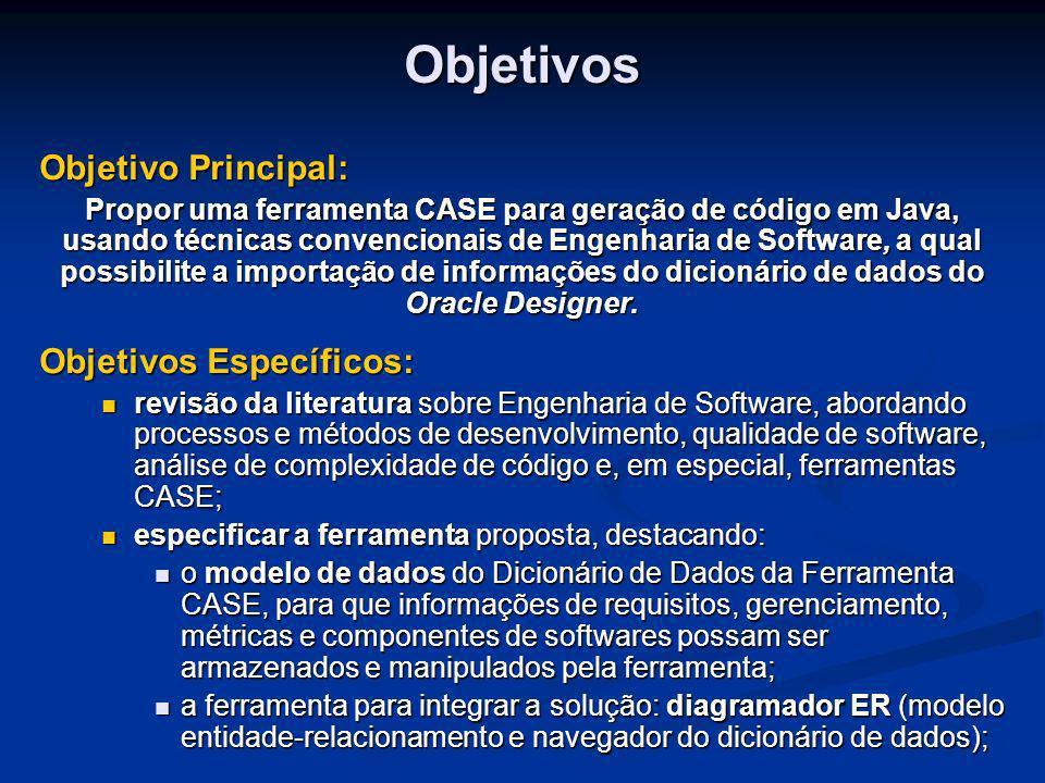 Objetivos Específicos: projetar um subsistema para integração com uma ferramenta CASE de mercado, no caso o software escolhido é o Oracle Designer6i; projetar um subsistema para integração com uma ferramenta CASE de mercado, no caso o software escolhido é o Oracle Designer6i; projetar um módulo para análise de complexidade estrutural de código gerado pela ferramenta; projetar um módulo para análise de complexidade estrutural de código gerado pela ferramenta; projetar o formulário de Time Recording Log definido pelo modelo Personal Software Process – PSP; projetar o formulário de Time Recording Log definido pelo modelo Personal Software Process – PSP; implementar a ferramenta proposta com as funções citadas anteriormente; implementar a ferramenta proposta com as funções citadas anteriormente; testar o protótipo da ferramenta, através de geração de código e da migração de um sistema cuja definição esteja armazenada no dicionário do Oracle Designer6i.
