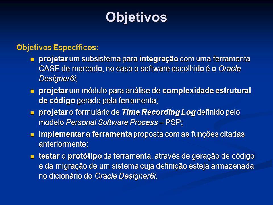 Objetivos Específicos: projetar um subsistema para integração com uma ferramenta CASE de mercado, no caso o software escolhido é o Oracle Designer6i;