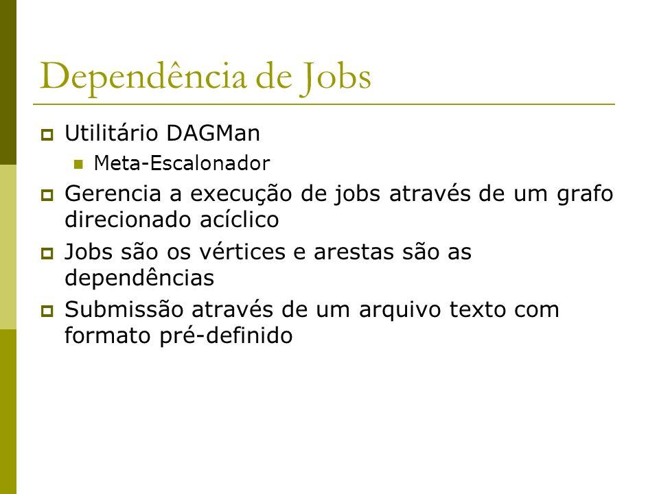 Dependência de Jobs Utilitário DAGMan Meta-Escalonador Gerencia a execução de jobs através de um grafo direcionado acíclico Jobs são os vértices e arestas são as dependências Submissão através de um arquivo texto com formato pré-definido