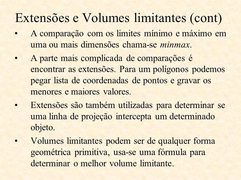 A comparação com os limites mínimo e máximo em uma ou mais dimensões chama-se minmax. A parte mais complicada de comparações é encontrar as extensões.